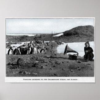 Shackleton im antarktischen Grammophon mit Poster