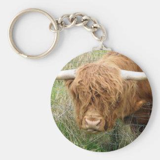 Shaggy Hochland-Kuh Standard Runder Schlüsselanhänger