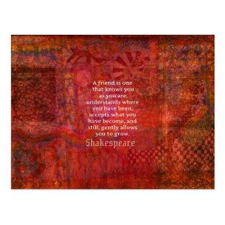 Shakespeare-FREUNDSCHAFT Zitat Postkarte