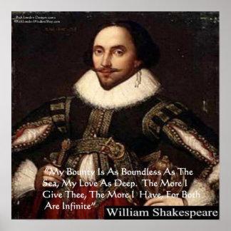 "Shakespeare""Liebe-unbegrenztes"" Liebe-Zitat-Plakat Poster"