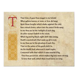 Shakespeare-Sonett 73 (LXXIII) auf Pergament 10,8 X 14 Cm Einladungskarte