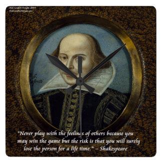 Shakespeare u. berühmte Gefühls-Zitat-Wand-Uhr Quadratische Wanduhr