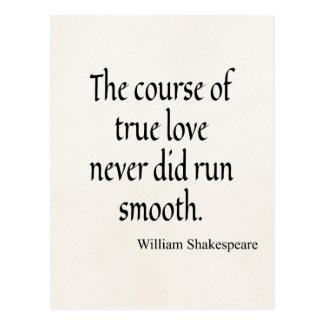 Shakespeare-Zitat-Kurs von wahre Liebe Laufglattem Postkarte