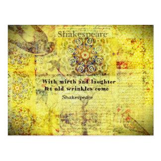 Shakespeare-Zitat über Glück und Gelächter Postkarte