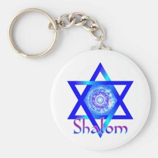 Shalom und blauer Davidsstern Schlüsselanhänger