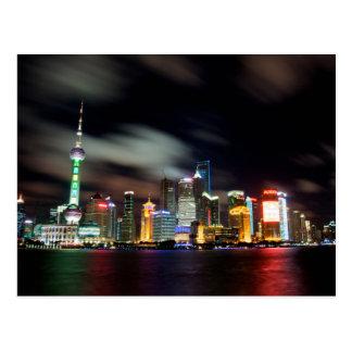 Shanghai-Skyline bis zum Nacht Postkarte