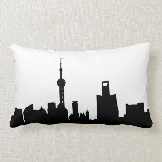 Shanghai-Stadt Skyline-Silhouette-China Lendenkissen