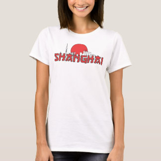 Shanghai-Stadtskyline-China oberster roter Sun T-Shirt