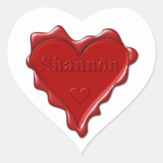 Shannon. Rotes Herzwachs-Siegel mit NamensShannon Herz-Aufkleber