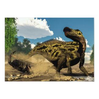 Shantungosaurus, das vom tarbosaurus verteidigt 12,7 x 17,8 cm einladungskarte