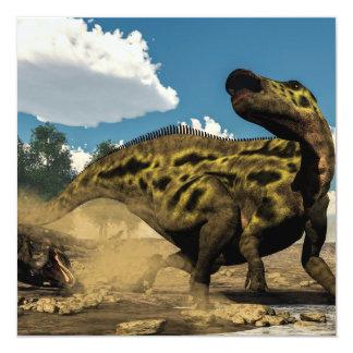 Shantungosaurus, das vom tarbosaurus verteidigt quadratische 13,3 cm einladungskarte