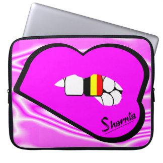 Sharnias Lippenbelgien-Laptop-Hülse (rosa Lippen) Laptopschutzhülle