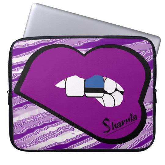 Sharnias Lippenestland-Laptop-Hülse (lila Lippen) Laptop Sleeve