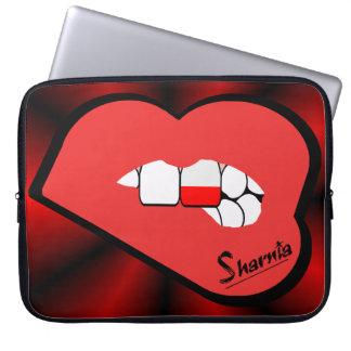 Sharnias Lippenpolen-Laptop-Hülse (rote Lippen) Laptop Sleeve