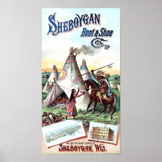 Sheboygan Stiefel u. Schuh-Anzeige-Vintages Plakat