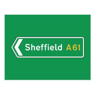 Sheffield, BRITISCHES Verkehrsschild Postkarte