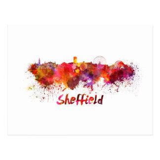 Sheffield skyline im Watercolor Postkarte