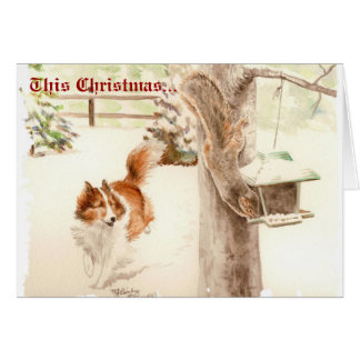 Sheltie, das Eichhörnchen-Weihnachtskarte jagt Karte