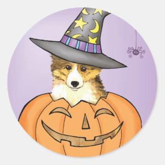 Sheltie Halloween Runder Aufkleber