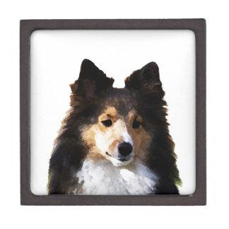 Sheltie Hundemalereiskizze Kiste