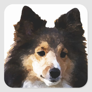 Sheltie Hundemalereiskizze Quadratischer Aufkleber