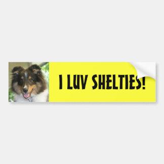 Sheltie, I LUV SHELTIES! Autoaufkleber