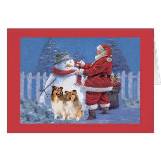 Sheltie Weihnachtskarte Sankt und Schneemann Karte
