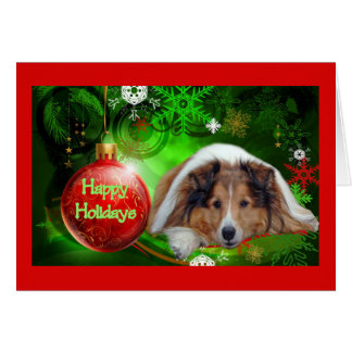 Sheltie Weihnachtskarten-frohe Feiertage Ball Grußkarte