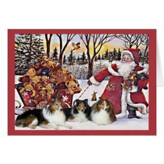 Sheltie Weihnachtskarten-Sankt-Bären im Karte