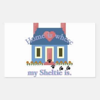 Sheltie Zuhause ist Rechteckiger Aufkleber