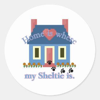 Sheltie Zuhause ist Runder Aufkleber