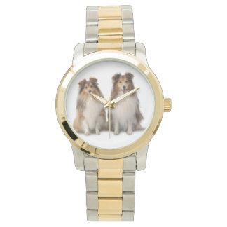 Sheltie Zwei-Ton Uhr-, Gold-und Silber-Ton Handuhr