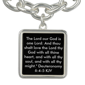 Shema Gebets-Englisch Deuteronomy 6:4 - 5 KJV Charm Armband