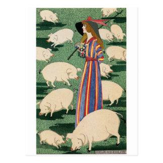 Shepherdess der Schwein-Postkarte Postkarte