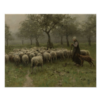 Shepherdess mit einer Menge der Schafe, Poster