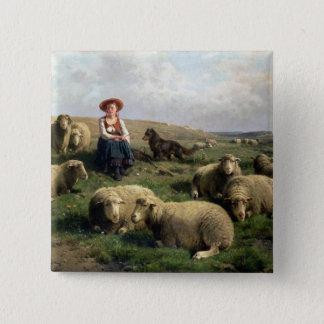 Shepherdess mit Schafen in einer Landschaft Quadratischer Button 5,1 Cm