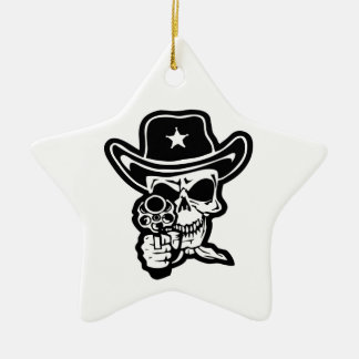 Sheriff-Schädel mit Pistole Keramik Ornament
