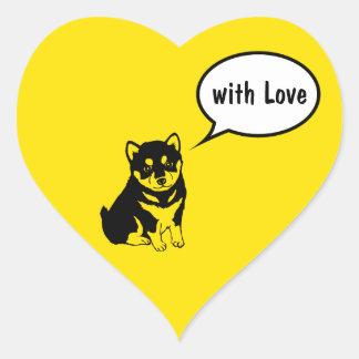 Shiba Inu chinesischer Hundejahr-Herz-Aufkleber Herz-Aufkleber
