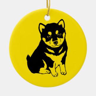 Shiba Inu chinesischer Hundejahr-Text-hintere Keramik Ornament