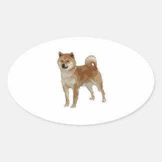 Shiba Inu Hund Ovaler Aufkleber
