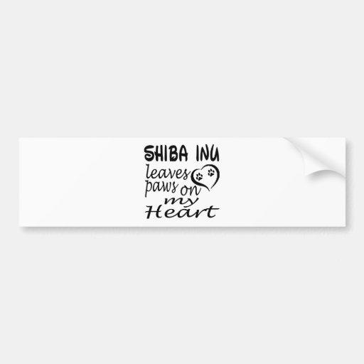 Shiba Inu Hund verlässt Tatze auf meinem Herzen Autoaufkleber