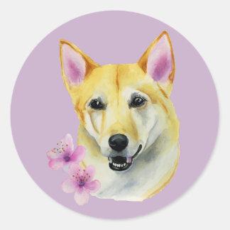 Shiba Inu mit Kirschblüte-Aquarell-Malerei Runder Aufkleber