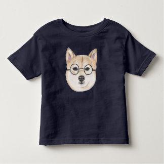 Shiba Inu mit übergroßen runden gerahmten Gläsern Kleinkinder T-shirt