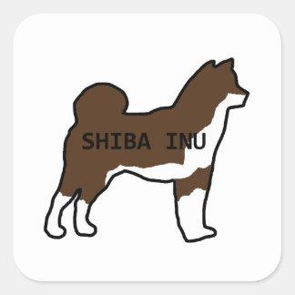 Shiba Inu NamensSilhouette-Rotindischer sesam Quadratischer Aufkleber
