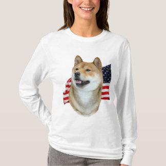 Shiba Inu und Flaggen-T - Shirt