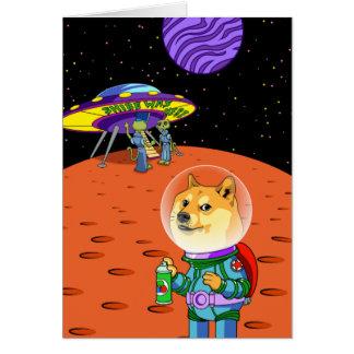 Shibe Doge Astro und der Außerirdische Memes Grußkarte
