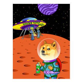 Shibe Doge Astro und der Außerirdische Memes Postkarten