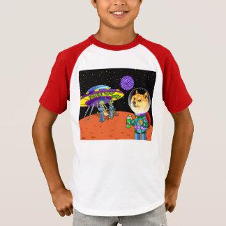 Shibe Doge Astro und der Außerirdische Memes T-Shirt
