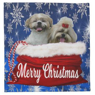 Shih tzu Stoff-Servietten-Weihnachten Stoffserviette