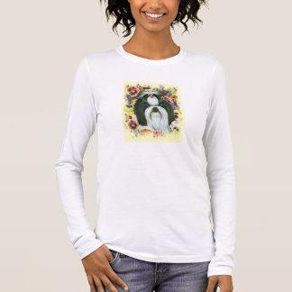 Shih Tzu und Stiefmütterchen-Kunst-Druck Langarm T-Shirt